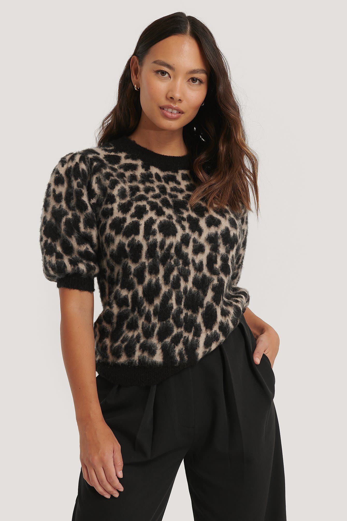 NA-KD NA-KD Puff Sleeve Leo brushed Knitted Sweater Beige/Black