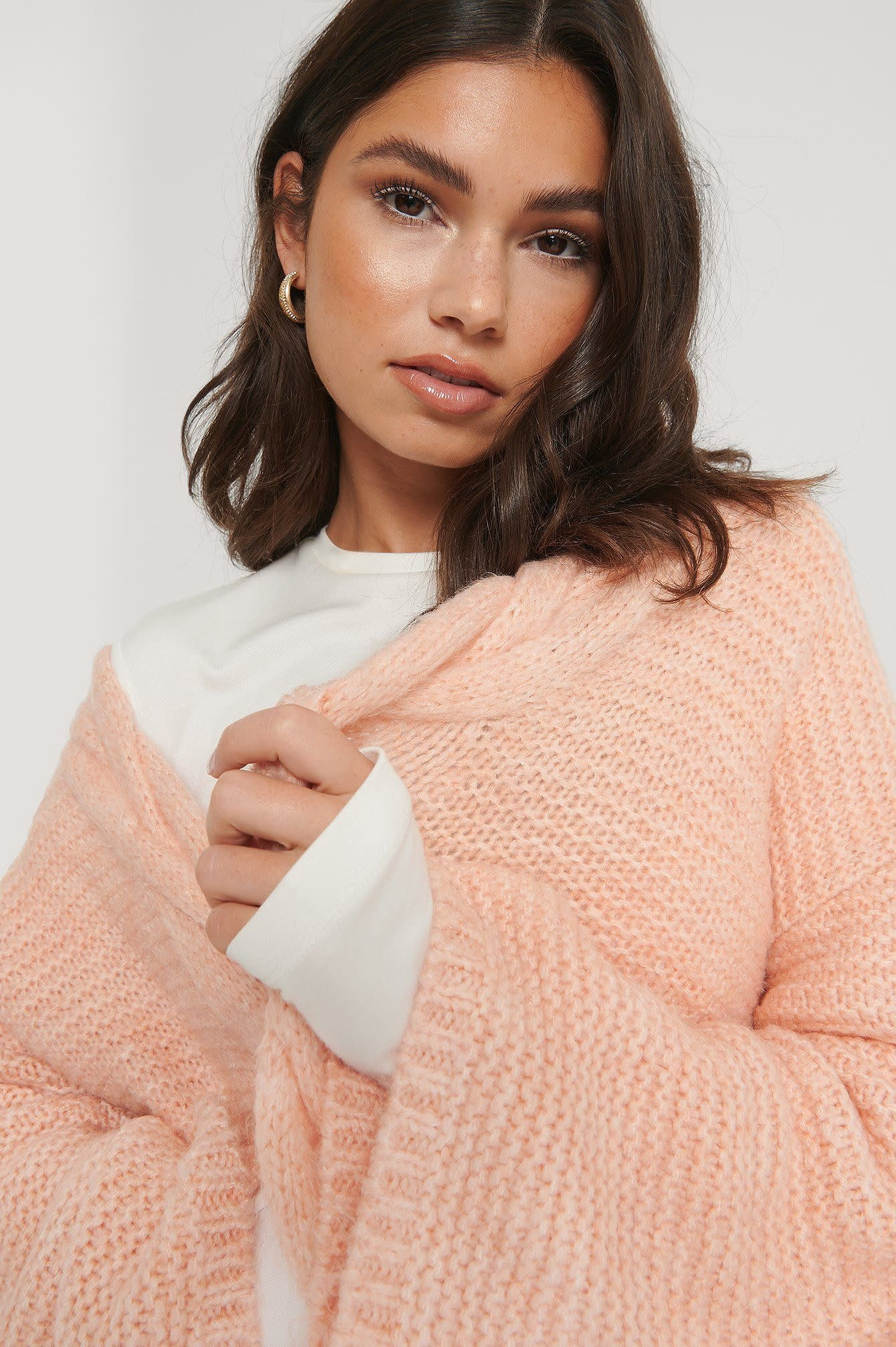 NA-KD Cable Detail Knitted Cardigan Dusty Pink