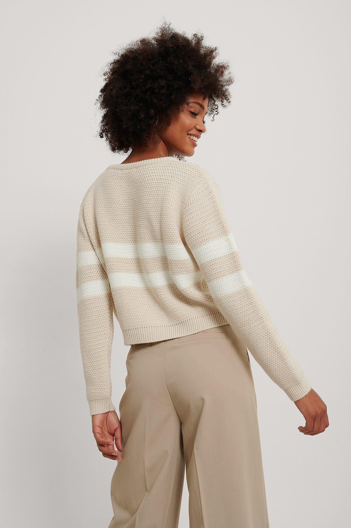 NA-KD Stripe Detail V-Neck Knitted Sweater Beige/White
