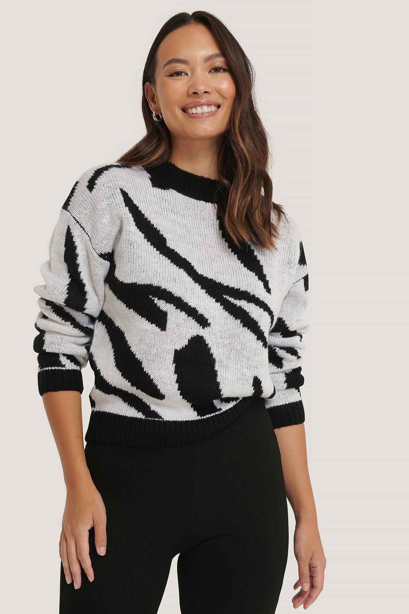 NA-KD NA-KD Animal Knitted Sweater Black/White