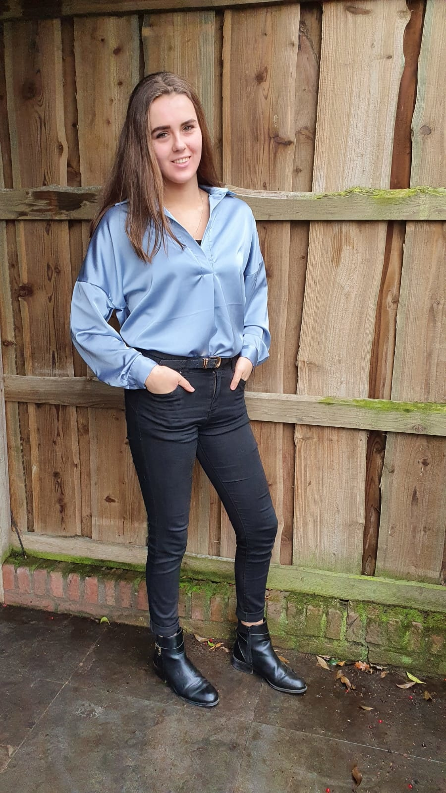 Blouse Glans Lang blauw One Size