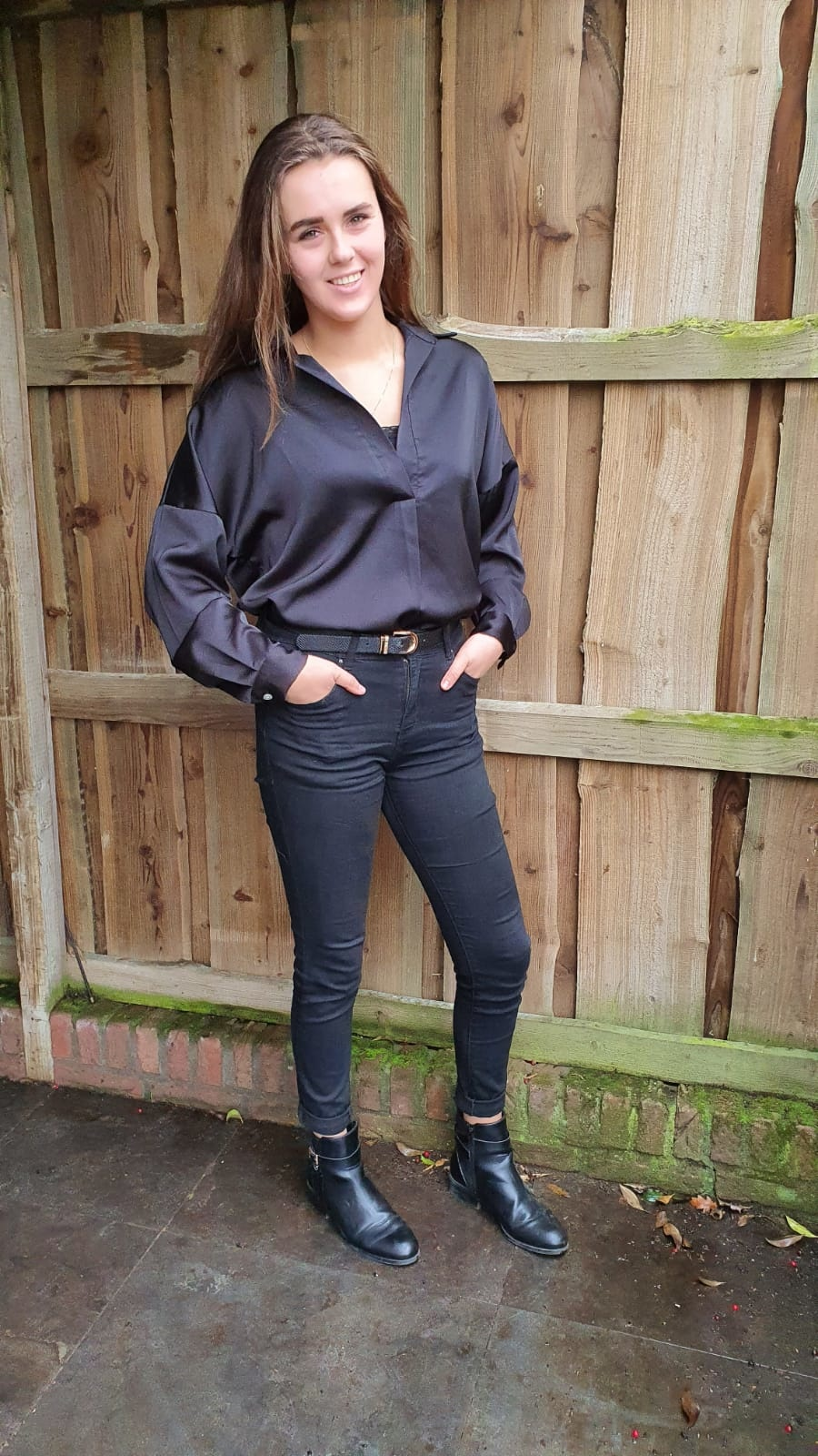Blouse Glans Lang Zwart One Size