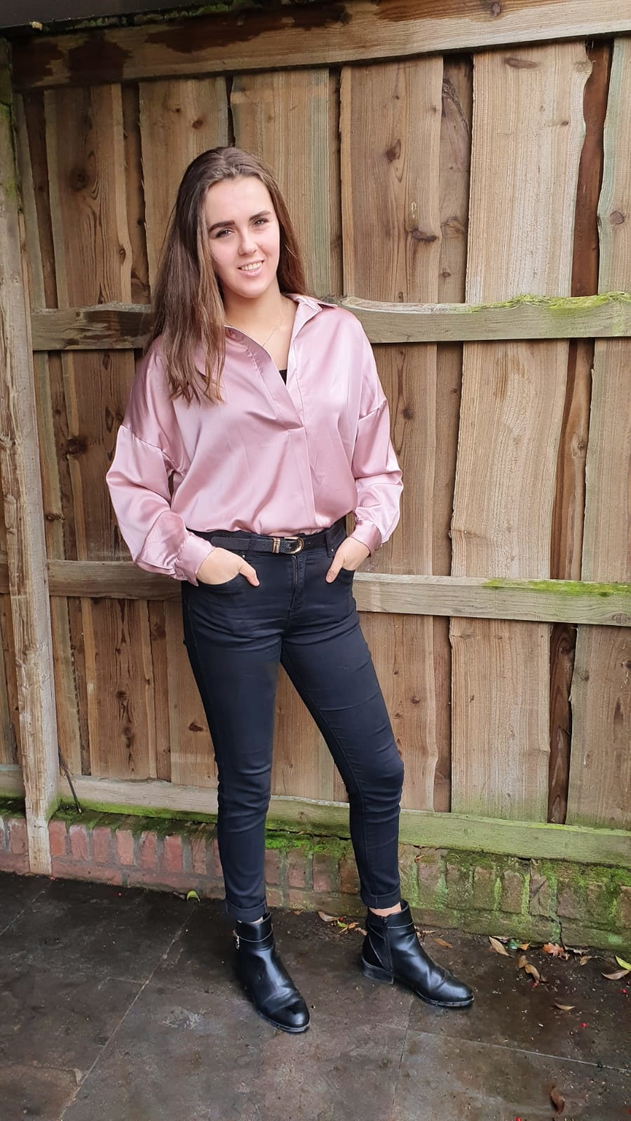 Blouse Glans Lang Oud Roze One Size