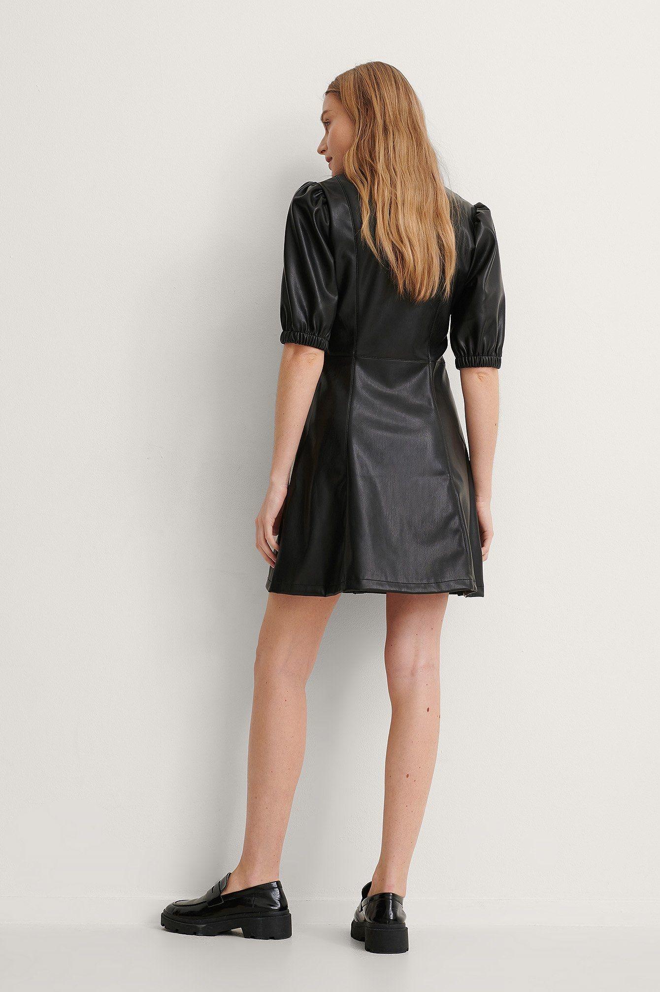 NA-KD Puff Sleeve Shirt Pu Dress