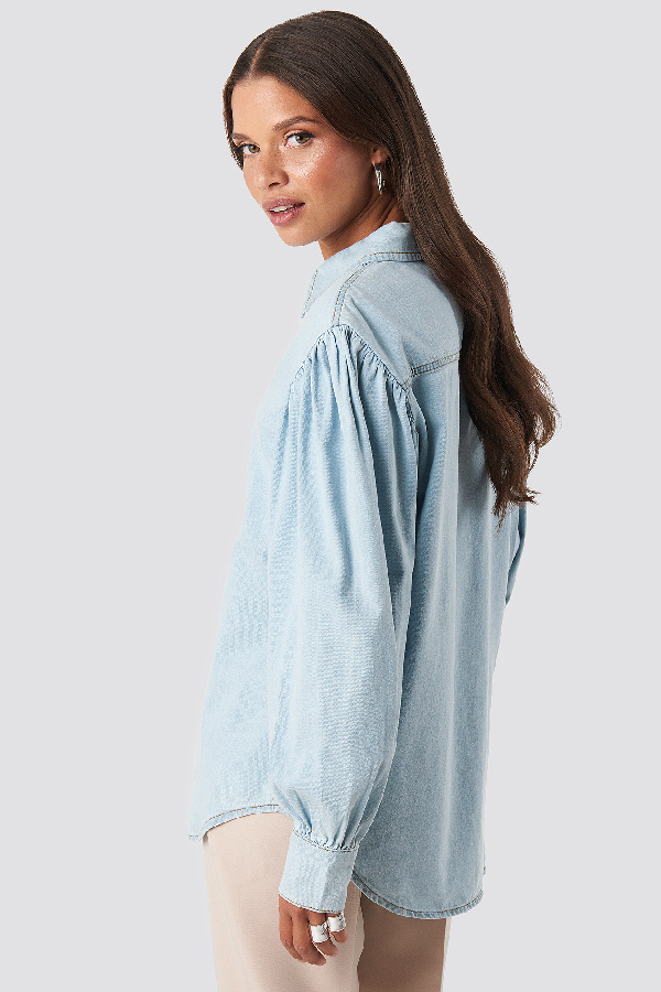 NA-KD Puff Sleeve Denim Shirt