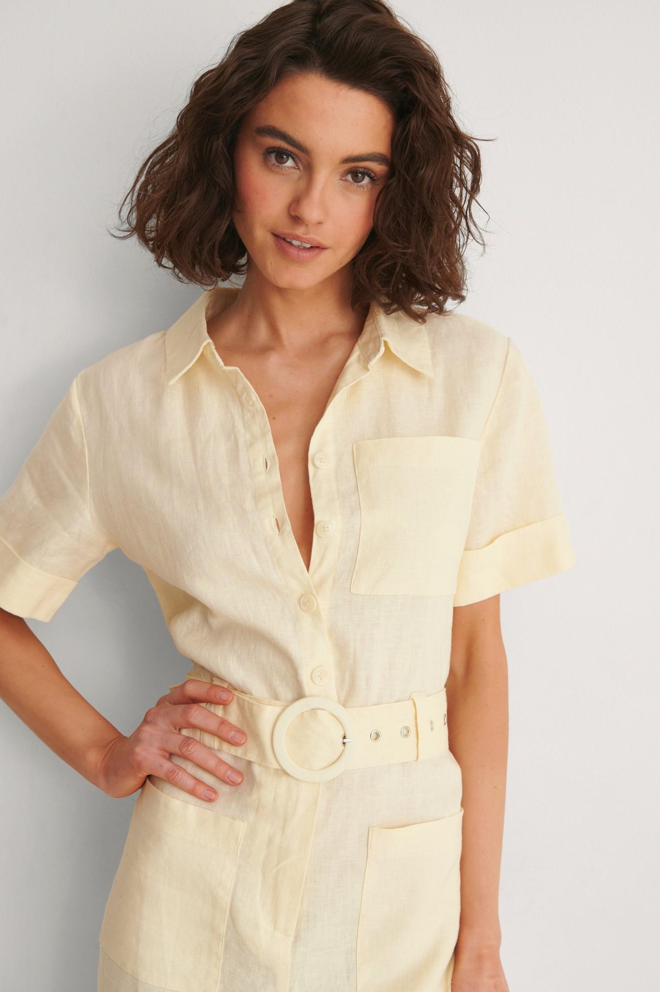 NA-KD Short Sleeve Linen Jumpsuit