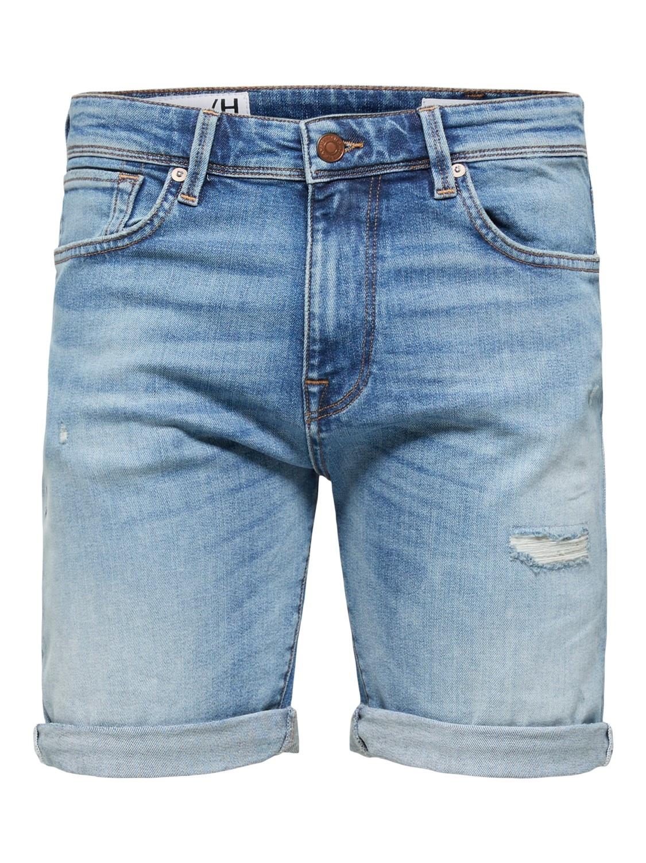 Selected SLHAlex Medium Blue Denim Short