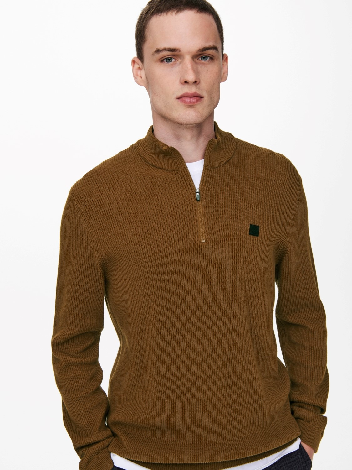 Only & Sons Onsweb Structure Half Zip Knit