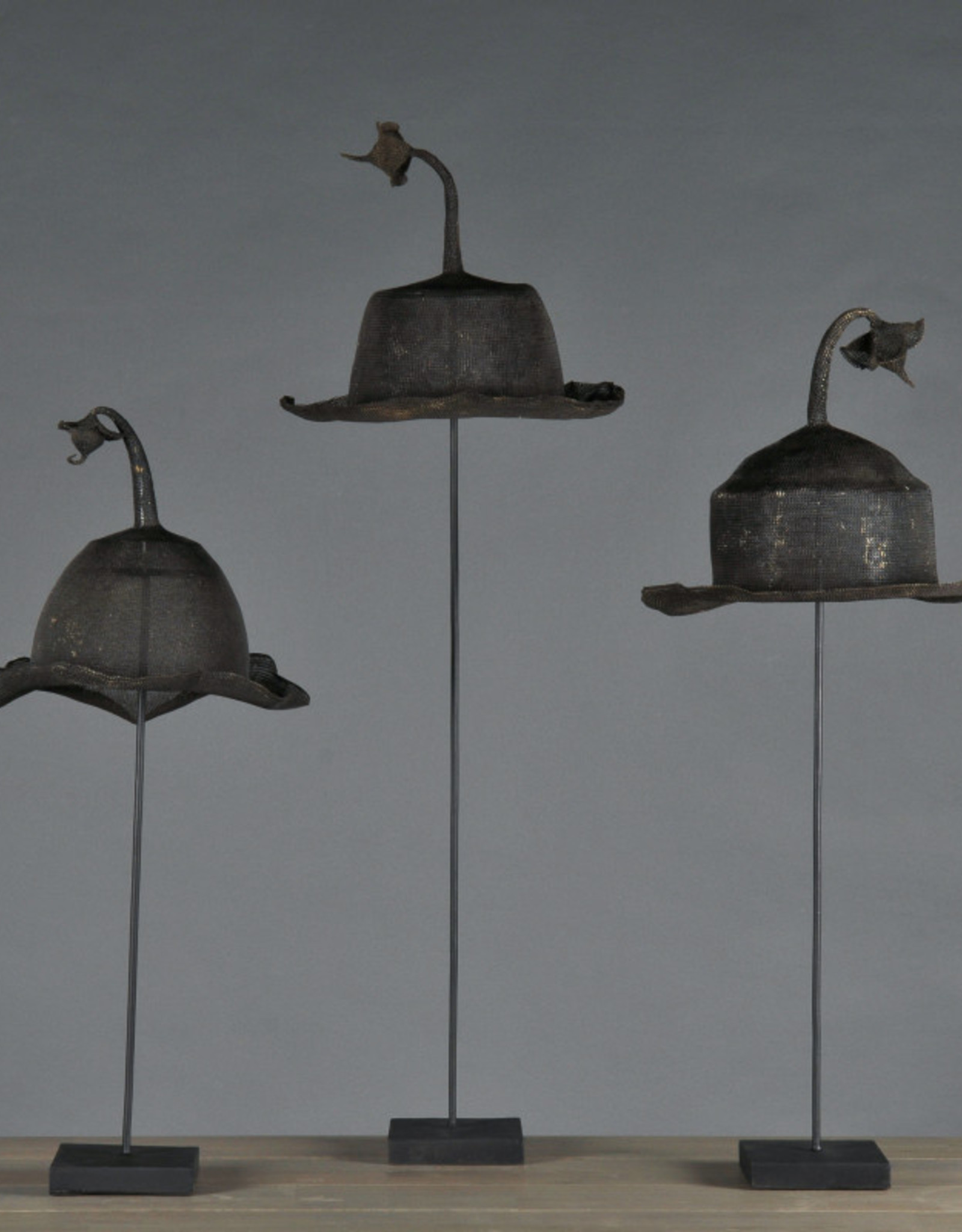 DECORATIVE ART S/2 IRON HAT