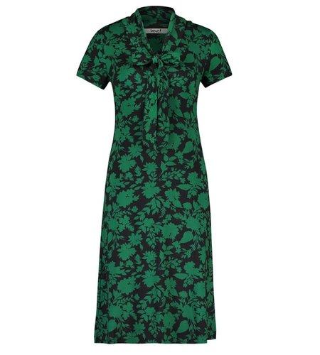 IEZ! Dress Bow Jersey Print Black Green