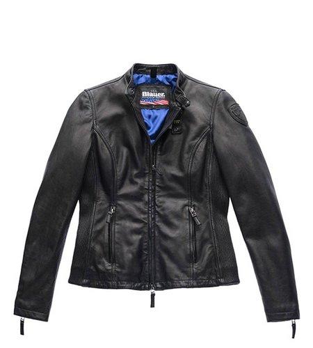 Blauer Padded Leather Jacket Ava Black
