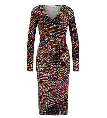 IEZ! Dress Drappy Jersey Print Multi