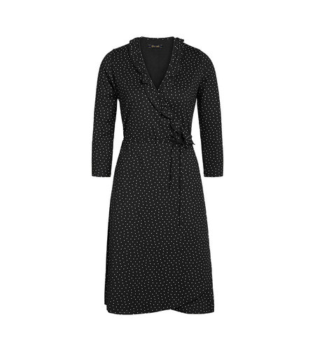 King Louie Abby Wrap Dress Little Dots Black