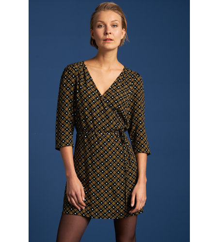 King Louie Wrap Dress Short Square Dance Black