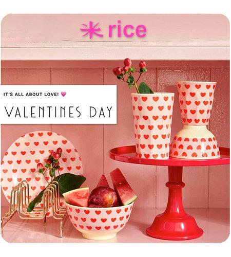 RICE Small Round Melamine Bowl - Sweet Hearts Print