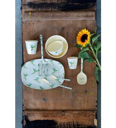 RICE Small Melamine Bowl - Hummingbird Print