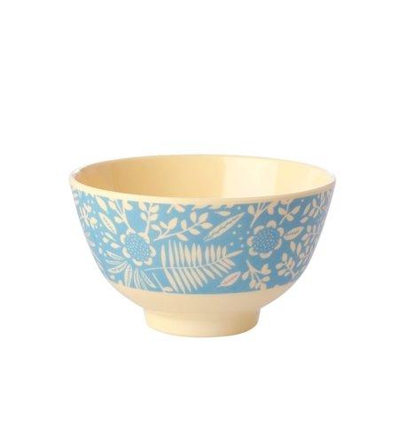 RICE Small Melamine Bowl - Blue Fern and Flower Print