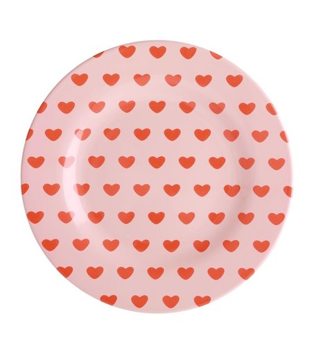 RICE Round Melamine Lunch Plate - Sweet Hearts Print