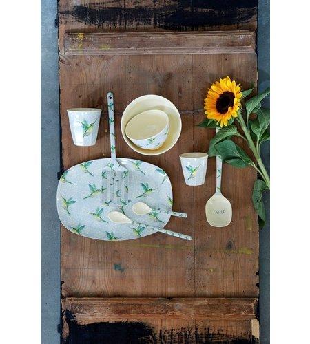 RICE Rectangular Melamine Plate - Hummingbird Print
