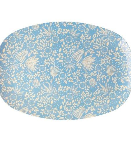 RICE Rectangular Melamine Plate - Blue Fern and Flower Print