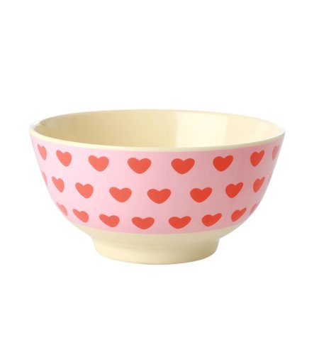 RICE Medium Melamine Bowl - Sweet Hearts Print