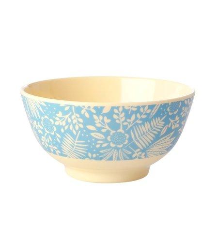 RICE Medium Melamine Bowl - Blue Fern and Flower Print