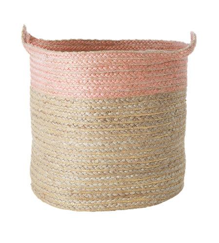 RICE Large Round Jute Storage Basket Pink