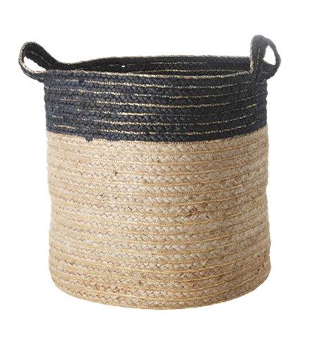 RICE Large Round Jute Storage Basket Blue