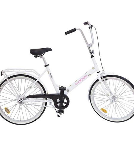 RICE JOPO Adult Bicycle White With Gold Dots