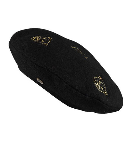 Birds On The Run Wool Beret With Tiger Embroidery Black