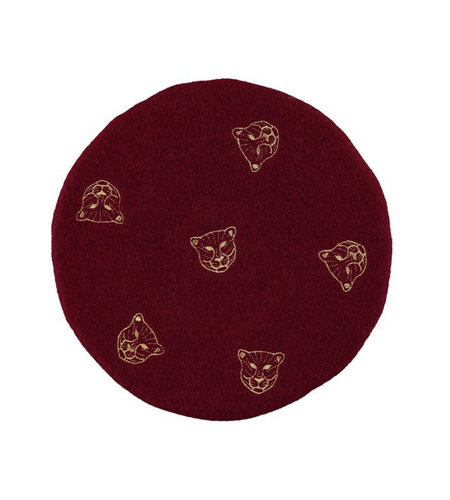 Birds On The Run Wool Beret With Tiger Embroidery Red