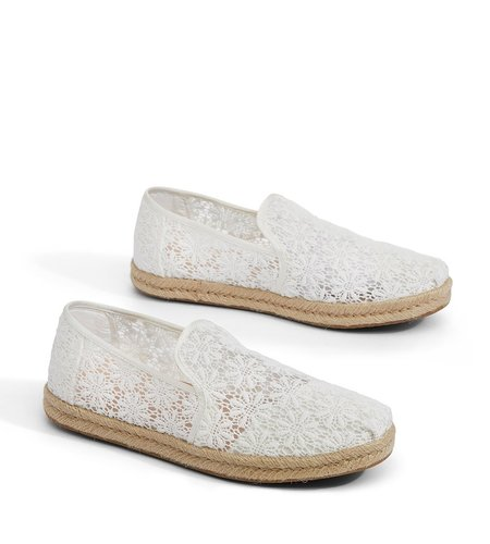 TOMS Deconstructed Alpargata Rope Floral Lace Natural