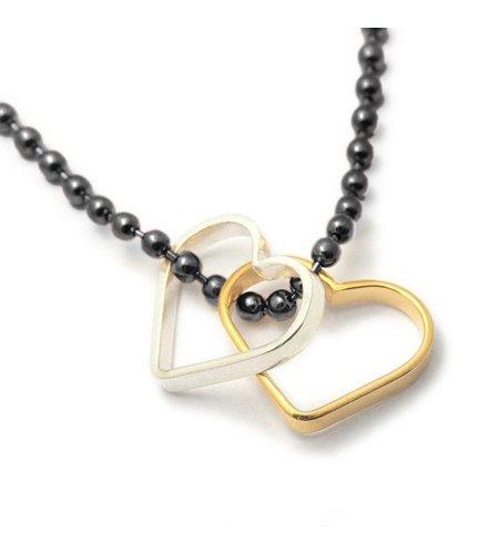 SeeMe Two Hearts Army Chain Black Silver