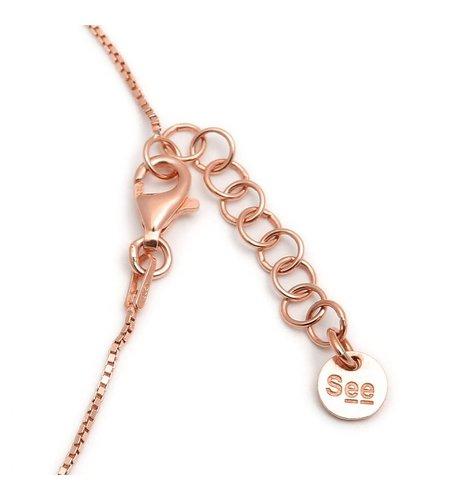 SeeMe Medium Heart Long Venetian Chain Rose