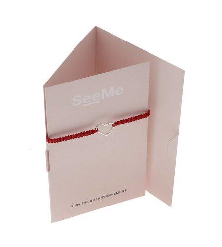 SeeMe Macrame Bracelet Small Heart Red