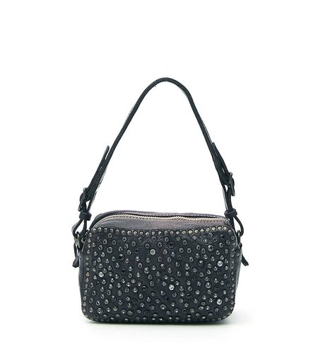 Campomaggi Mini Bowler Bag with black rhinestones in black leather