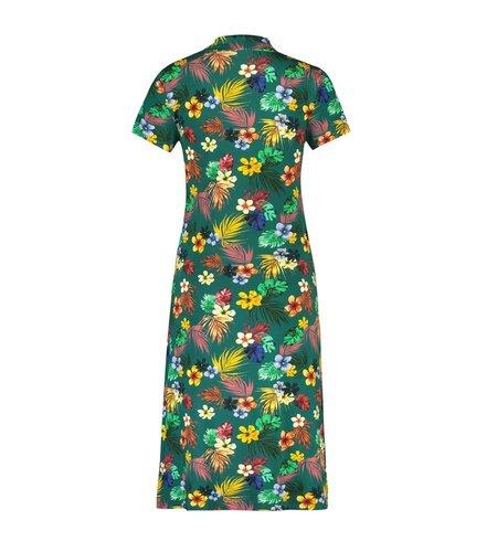IEZ! Dress Bow Jersey Print Petrol Flower