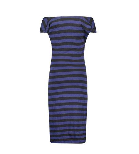 IEZ! Dress Drappy Jersey Print Stripe Black Dark Blue