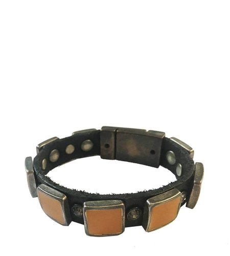 Campomaggi Bracelet in brown leather with yellow studs and magnetic closure