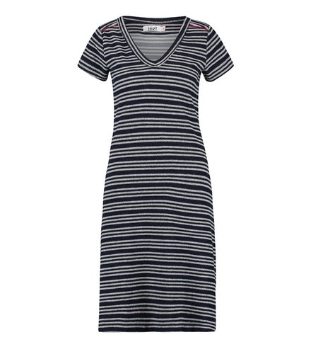 IEZ! Dress Terry Stripe Dark Blue Light Grey