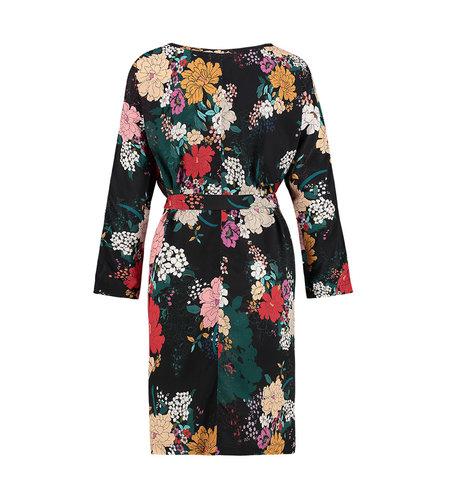 IEZ! Dress Short Woven Black Flower