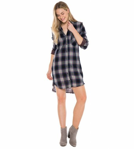 Bella Dahl Fray Pocket Shirt Dress Pink Black