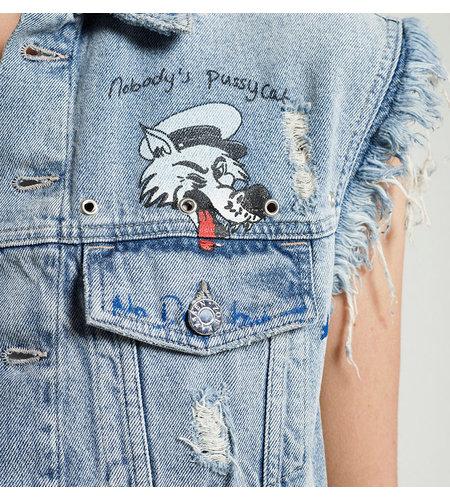 Zoe Karssen Obsession Denim Jacket Mid Wash Blue