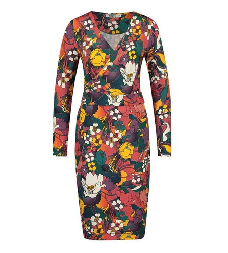 IEZ! Dress Wrap Jersey Print Orange