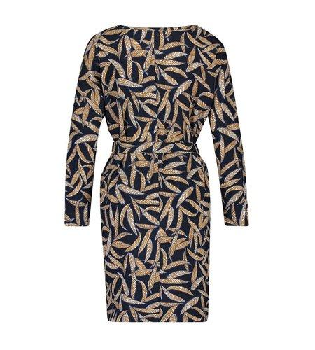 IEZ! Dress Tunic Short Satin Print Dark Blue