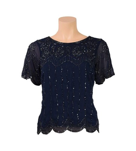 King Louie Embellished Top Boogie Indigo Blue