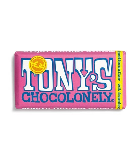 Tony's Chocolonely Wit Framboos Knettersuiker 180 gram