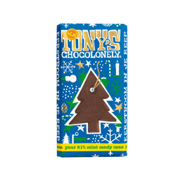 Tony's Chocolonely Kerstreep Puur 51% Mint Candy Cane