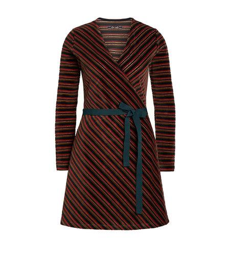 King Louie Wrap Dress Nikki Stripe Pine Green