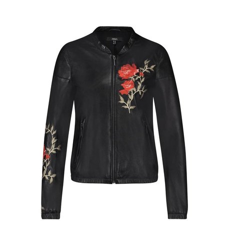 Arma Leder Paz Lamb Caprito Flower Embroidery Black